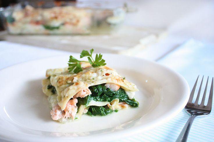 Lasagne met zalm en garnalen