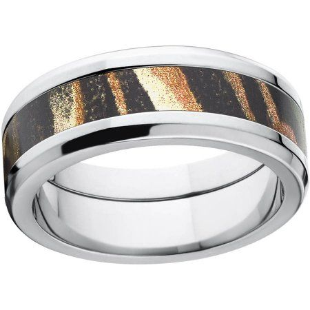 Mossy Oak Shadow Grass Men's Camo 8mm Stainless Steel Wedding Band with Polished Edges and Deluxe Comfort Fit, Size: 10