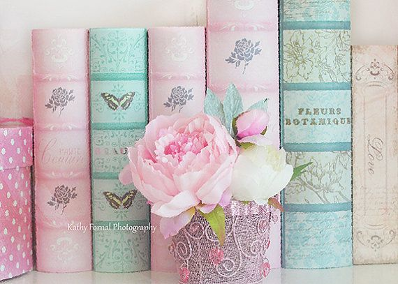 Original fine art pink peonies and pink aqua books fine art print by Kathy Fornal Title: Romantic Peonies and Books Perfect for a bathroom, bedroom,