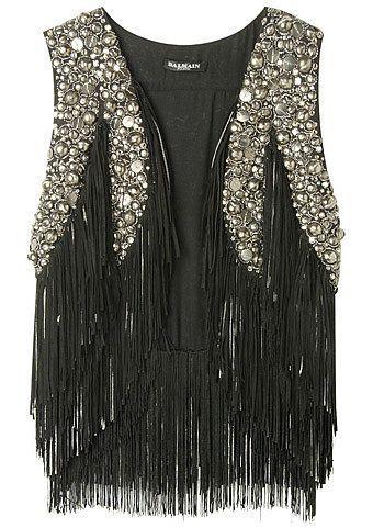 Sparkly, black fringe vest