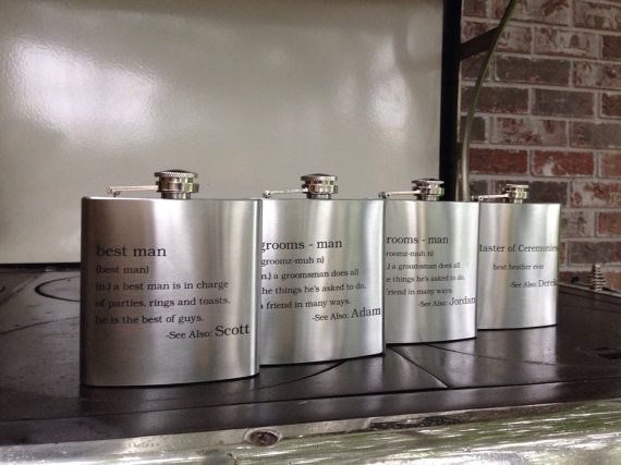 Personalized Wedding Party Definition Flasks by ImpactEngraving on Etsy