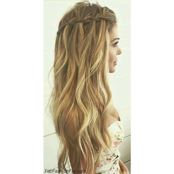 Hair How to do a Waterfall braid hairstyle? ❤ liked on Polyvore featuring beauty products, haircare, hair styling tools, hair and hair styles