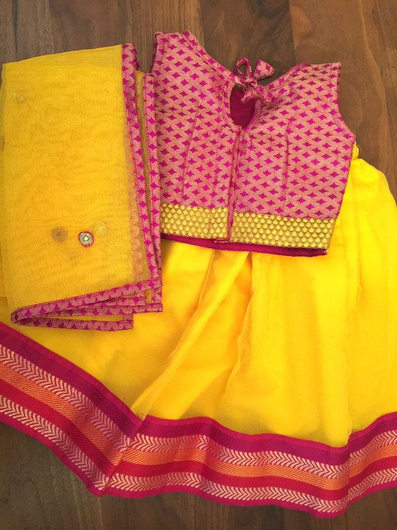 Handmade pink and yellow Indian brocade and net by PuchkeeBaby