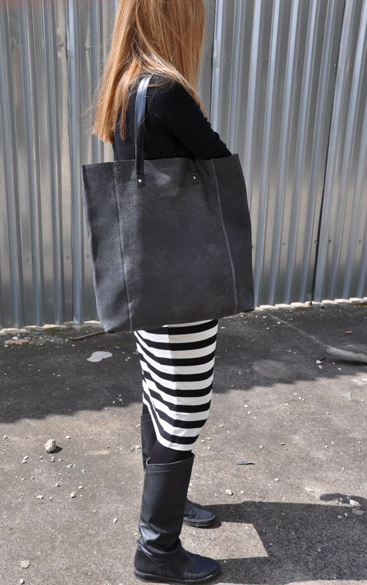 Handmade oversized tote leather bag
