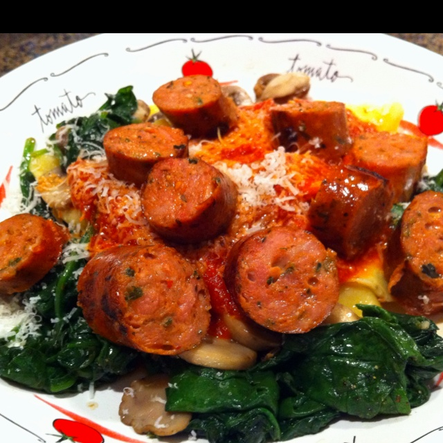 Dinner. Italian Chicken Sausage, Cheese Ravioli over a bed of Spinach ...