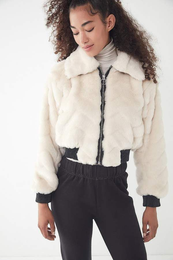 Urban Outfitters UO Francine Faux Fur Bomber Jacket  b0a41c895