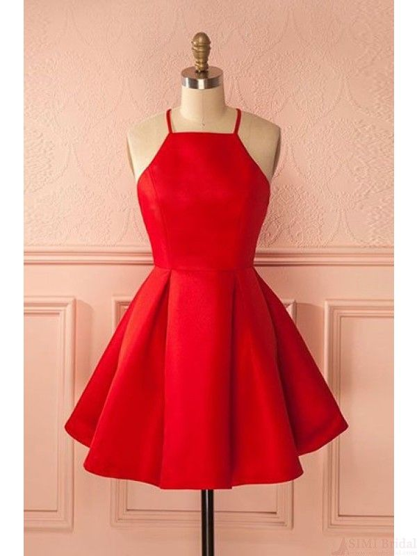 2017 red prom dresses, 2017 halter homecoming dresses #SIMIBridal #promdresses