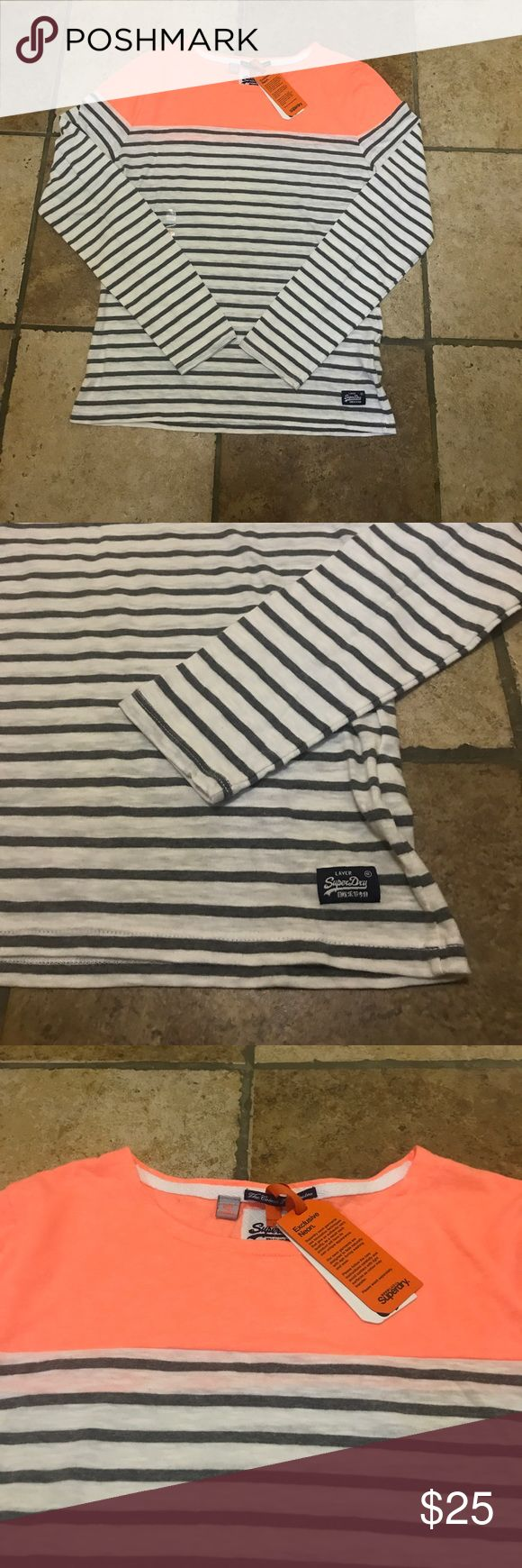 Super Dry Long Sleeve Top Super Dry long sleeve top with stripes and top color block detail. Brand new, no stains, damages or pills. Great condition tags attached. Super Dry Tops Tees - Long Sleeve