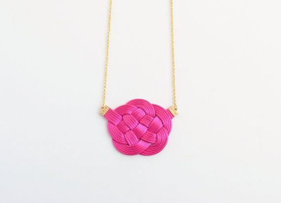 Hot pink cloud knot necklace flower knot satin by elfinadesign