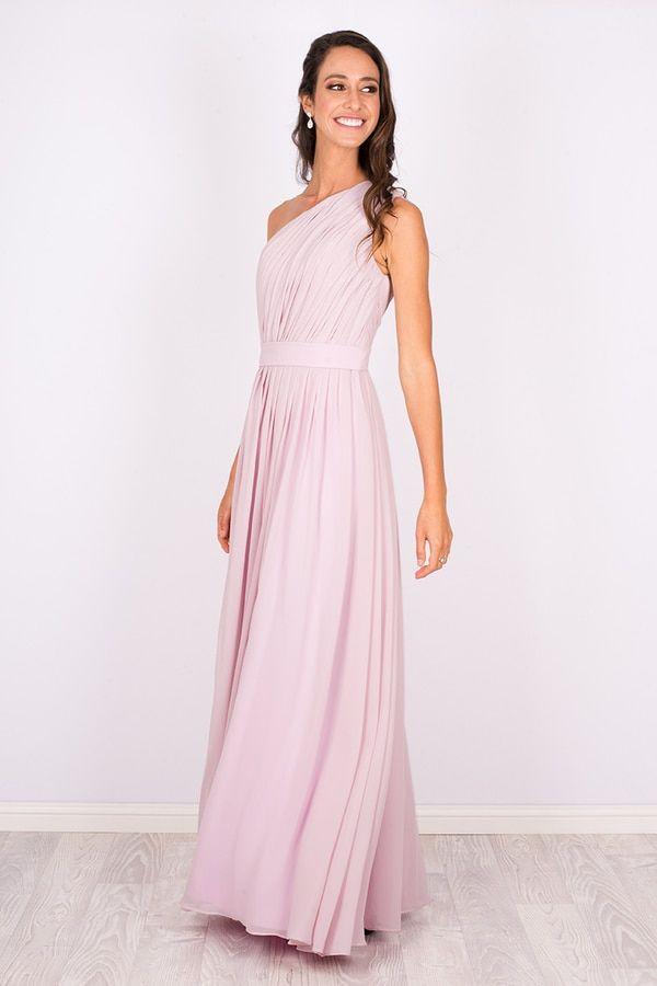 Soft Pink Bridesmaid Dress One Shoulder Garden Wedding Ideas Katherine Chiffon
