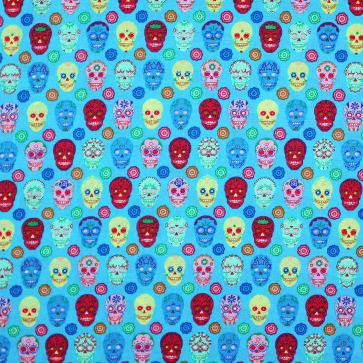 Tissu Enfant Coton - Crânes Aqua