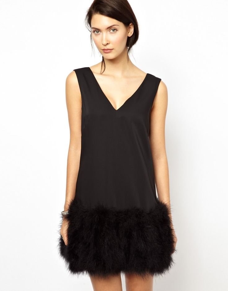 BCBGMAXAZRIA Shift Dress with Feather Trim and Deep V Back