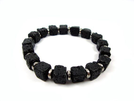 FREE SHIPPING Santorini Natural Black Volcanic Cube Lava 8x8mm  Handmade Men Women Unisex Bracelet on Etsy, 17,00€