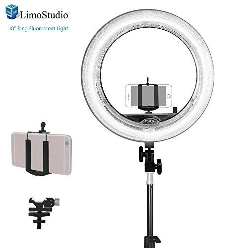 LimoStudio <b>18 inch</b> Fluorescent Ring Light 5500K <b>Dimmable</b> with ...