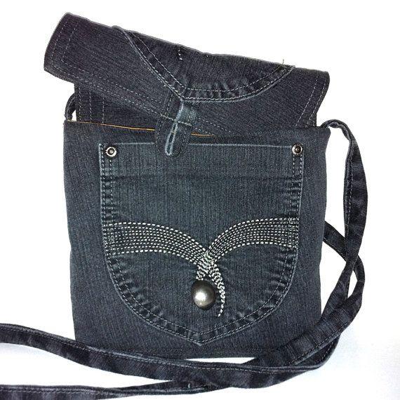 Small messenger bag recycled dark blue denim cross body by Sisoi