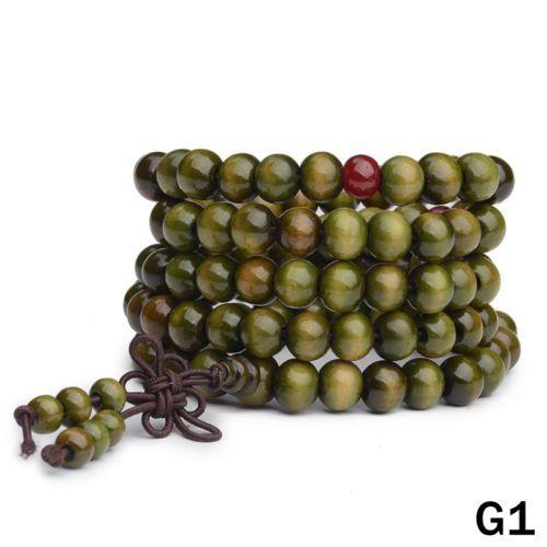 Sandalwood-Buddhist-Meditation-6mm-108-Prayer-Bead-Mala-Bracelet-Necklace-Green