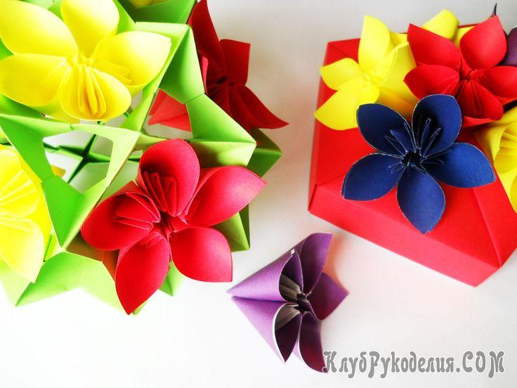 """Оригами цветок """"Благухающая вишня"""". Детальная инструкция с пошаговыми фотографиями расскажет Вам как быстро создать красивый цветок в технике оригами"""