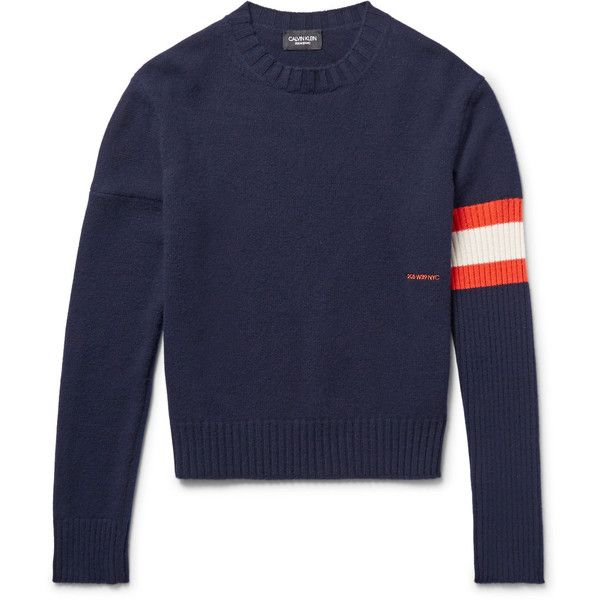 CALVIN KLEIN 205W39NYC Stripe-Trimmed Cashmere Sweater ($1,390) ❤ liked on Polyvore featuring men's fashion, men's clothing, men's sweaters, mens white sweater, mens cashmere sweaters, mens orange sweater, mens white cashmere sweater and mens striped sweater