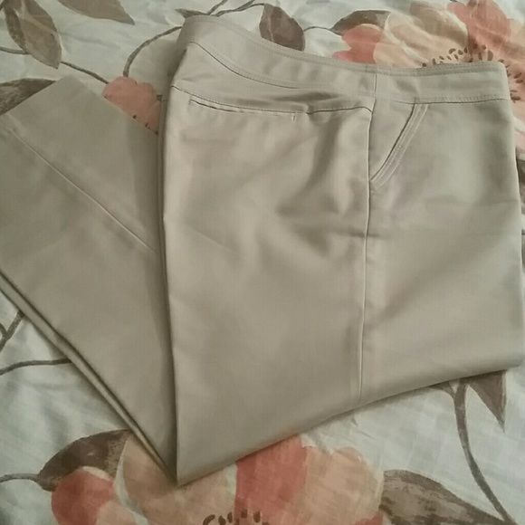 "Womens Khaki Pants Khaki pants - 27 1/2"" long from inseam. Neat detailing... Inside button missing (see picture) Pants Trousers"