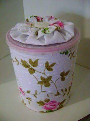 más y más manualidades: Como decorar latas usando tela o papel