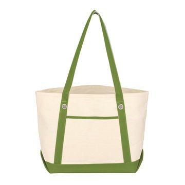 Green Colour Cotton Women Beach Bag with Double Strap