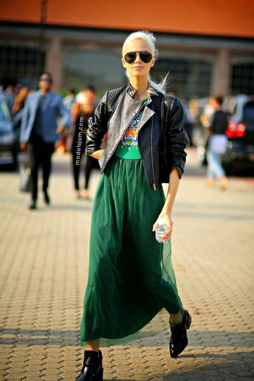 Shop this look on Lookastic:  http://lookastic.com/women/looks/black-sunglasses-black-biker-jacket-green-maxi-dress-black-ankle-boots/9521  — Black Sunglasses  — Black Leather Biker Jacket  — Green Chiffon Maxi Dress  — Black Leather Ankle Boots
