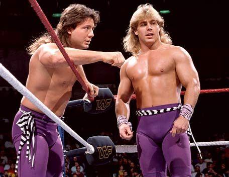 15. WWF Wrestling: Shawn Michaels and Marty Jannetty circa 1985!    #KickinItAppleCheeks