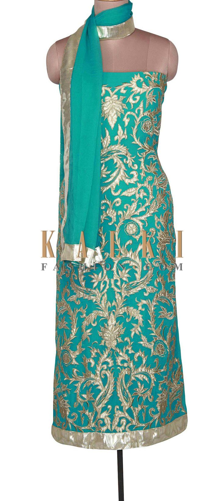 Buy Online from the link below. We ship worldwide (Free Shipping over US$100). Product SKU - 301049. Product Link - http://www.kalkifashion.com/turq-unstitched-suit-adorn-in-applique-and-zari-embroidery-only-on-kalki.html