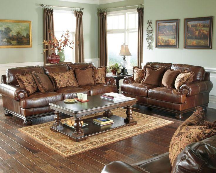 Ashley genuine topgrain leather brown sofa loveseat