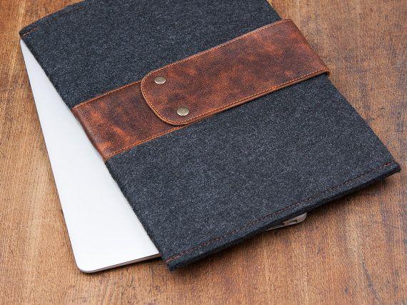 Dunkle fühlte sich MacBook AIR Abdeckung 11 mit Lederband.