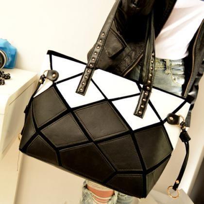 Stylish Black and White Hand bag
