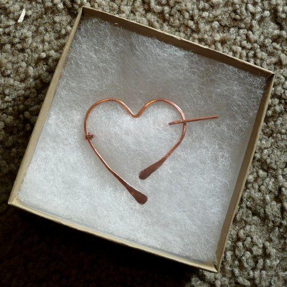 Heart Penannular Shawl Pin by Twiceshearedsheep on Etsy, $20.00