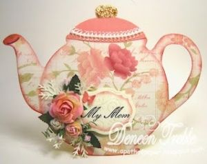 Gorgeous Teapot Card.  Template on blog for cutting the teapot out. by Carolmary