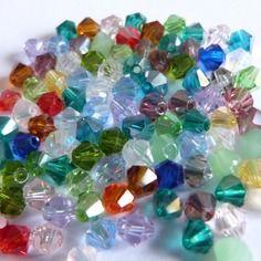 100 perles toupies cristal couleur multicolores 4mm