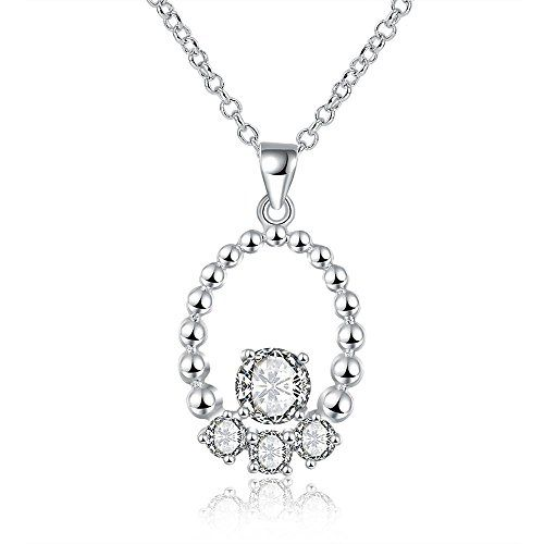 AMDXD Jewelry Sterling Silver Women Pendant Necklace Apple Cubic Zirconia as Birthday Gift WwStkP