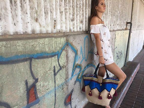 Designer Ladies summer beach Bag. Boho style Hippie fashion