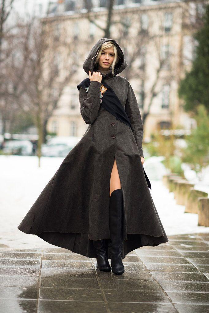 Elena Perminova wears an Ulyana Sergeenko coat and shoes