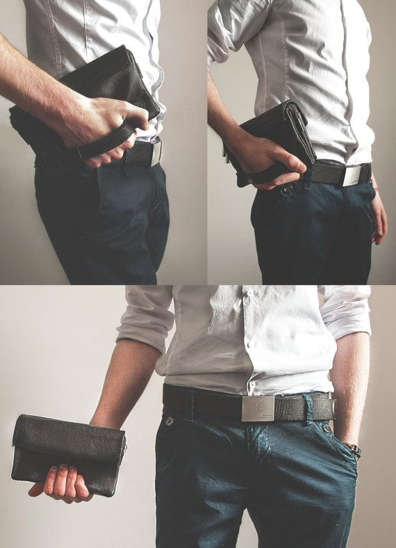 Leather Clutch for men. Business mens handbag. by TropaeisLeather