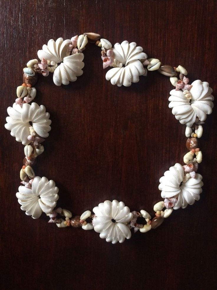 Vintage 70s Real Sea Shell Necklace Brown White Natural Long Chunky Boho Hippy