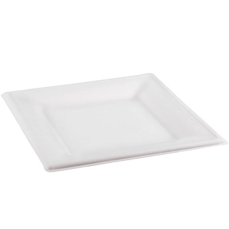 """Green Wave Sugarcane / Baggase GS-P006 Green Biodegradable and Compostable Square 6"""" x 6"""" Plate – 100 / CS"""