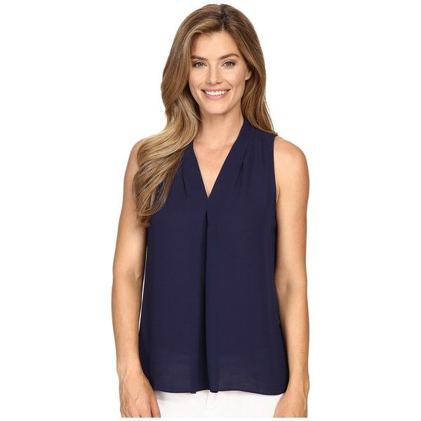Vince Camuto Sleeveless V-Neck Blouse w/ Inverted Front Pleat (Evening Navy) Women's Blouse featuring polyvore, women's fashion, clothing, tops, blouses, sleeveless blouse, blue v neck shirt, blue blouse, v-neck shirts and navy shirt