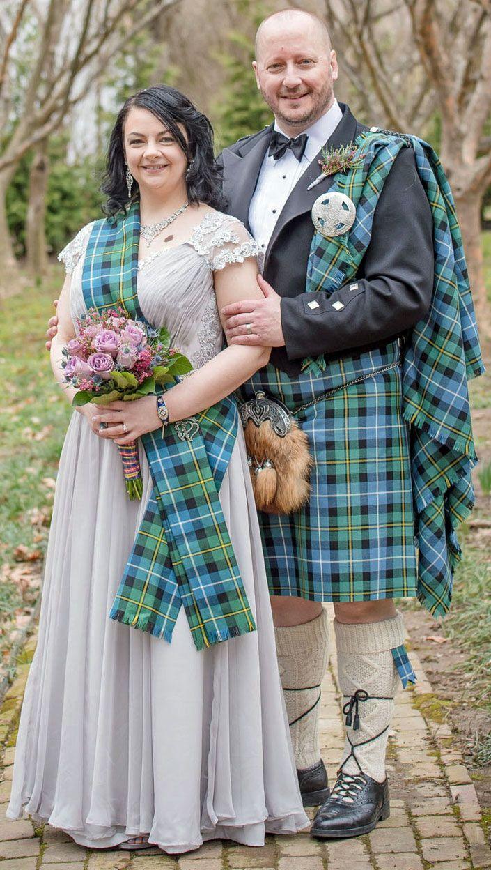 Matching Tartan Kilt And Lady S Tartan Sash Scottish Wedding Dresses Tartan Wedding Dress Tartan Wedding [ 1248 x 705 Pixel ]