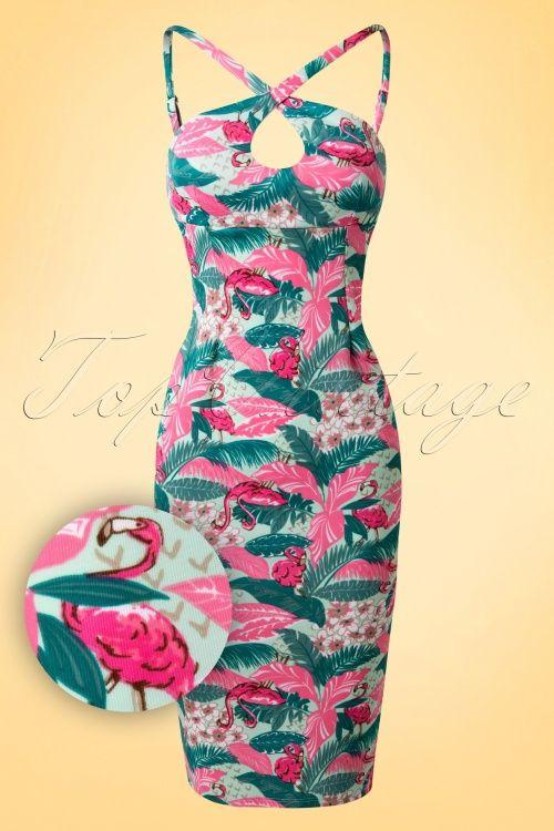Bettie Page Clothing - 50s Cross My Heart Flamingo Dress in Mint
