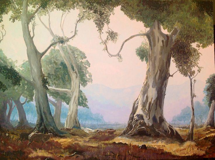 Gum Trees 100 x 76cm Acrylic on Canvas. After Hans Hysen