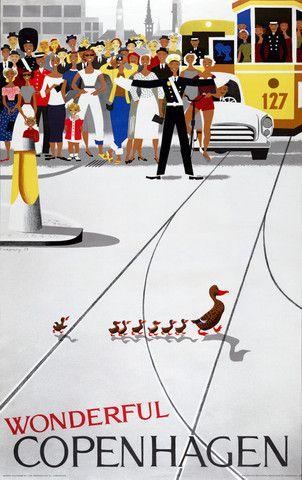 Wonderful Copenhagen. 1961. Vintage travel poster.