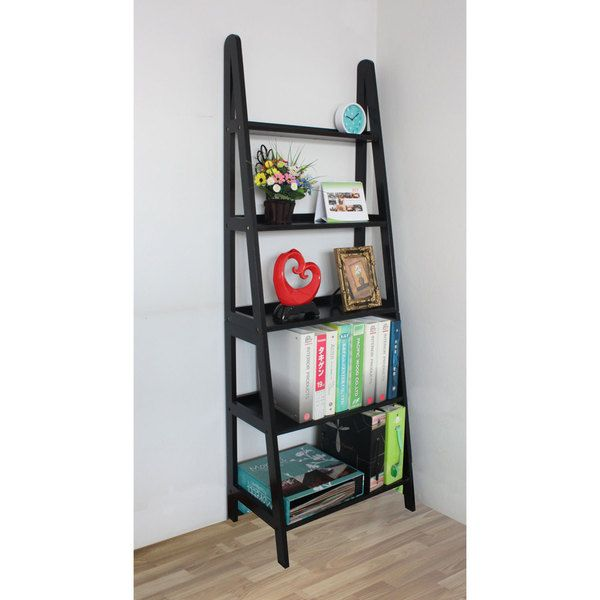 "Mintra 5-tier A-frame Black Ladder Shelf - $109 - Solid wood and hardwood veneer combine to make this ladder shelf sturdy and durable Black finish pairs well with architectural or contemporary design Open back design makes it easy to plug in lamps or electronics Five graduated shelves allow for display of objects of varying sizes Measures 71""H x 25""W x 15""D Height between shelves is 12.5"""