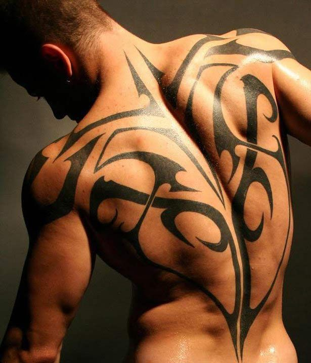 Tribal celtic tattoo on full back of the body