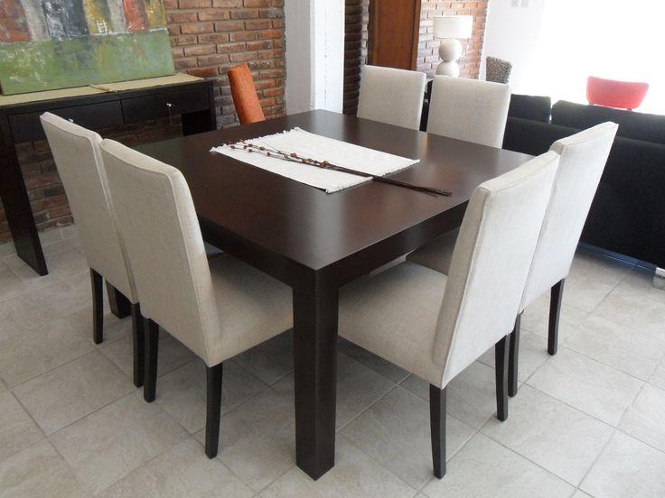 Mesa recto con silla punta cuadrada altos comedor - Mesas comedor cuadradas extensibles ...