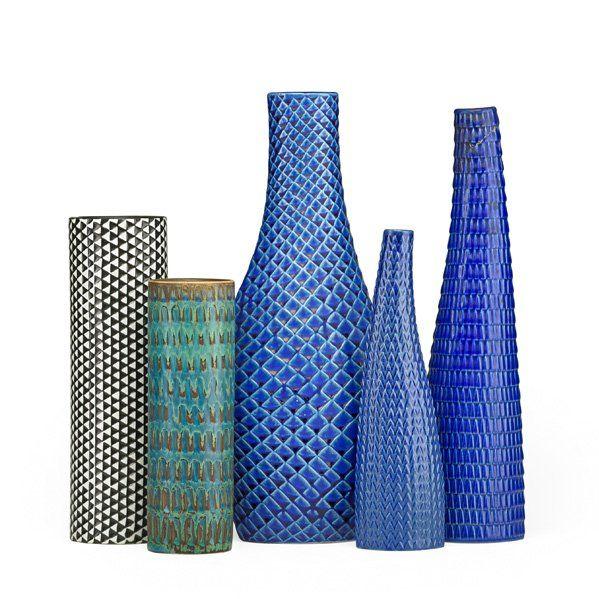 Stig Lindberg; Glazed Stoneware Vases for Gustavsberg, 1960s.