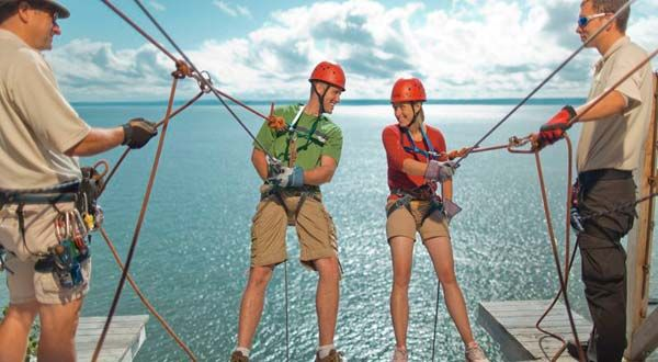 Rappelling, Cape Enrage, New Brunswick, Canada
